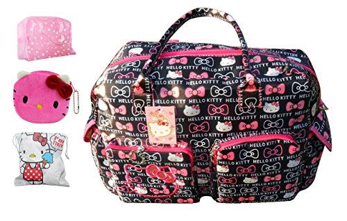 This ultra large Hello Kitty diaper bag is super cute with a pink and black  design and features a light interior so you won t be digging into a black  hole. e363eb59b2e75